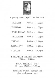 Opening Hours Sign HG Spring-Summ-Aut 13-14